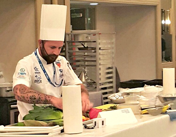 Chef Damian Leach in competition earlier today.