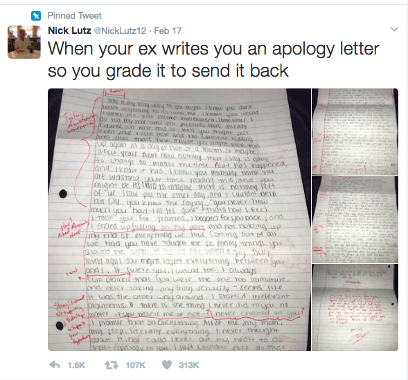 Man Marks His Ex Girlfriends Apology Letter And Sends It